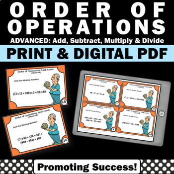 Order of Operations Advanced Task Cards with Parenthesis M
