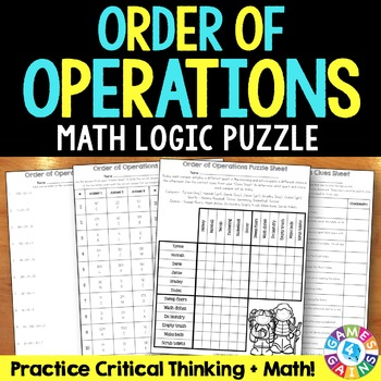 Order of Operations Activity: Order of Operations Logic Puzzle {5.OA.1}