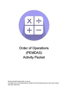 Order of Operations Activity Packet