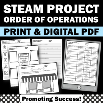 5th Gr Order of Operations STEM Distance Learning Packet Math Research Project