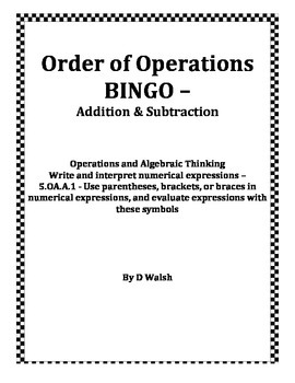 Order of Operations Addition & Subtraction BINGO