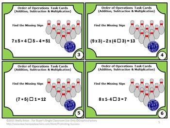 Order of Operations Task Cards Addition Subtraction & Multiplication Parenthesis