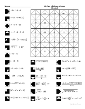 order of operations advanced coloring worksheet by aric thomas. Black Bedroom Furniture Sets. Home Design Ideas