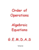 Order of Operations - Algebraic Equations