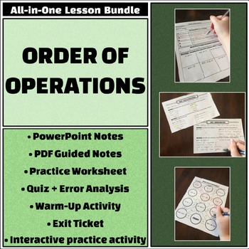 Order Of Operations All In One Bundle Notes Worksheets Quiz And More