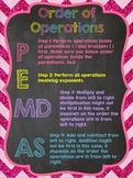 Order of Operations Anchor Chart: Chalkboard Style