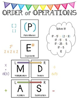 Order of Operations Notebooking Pages - not just an anchor chart ...
