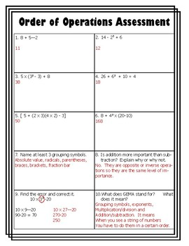 Order of Operations Assessment