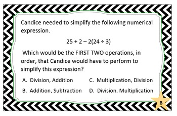 Order of Operations Assessment Cards - Grade 5