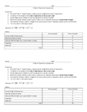 Order of Operations Assignment with Rubric
