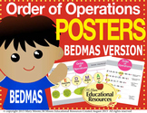 "Order of Operations - BEDMAS - 2 MATH POSTERS - 24"" x 36"""