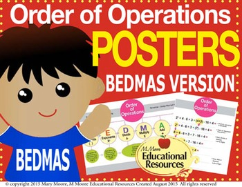 """Order of Operations - BEDMAS - 2 MATH POSTERS - 24"""" x 36"""""""