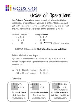 Order of Operations (BEDMAS) Book 1