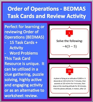 Order of Operations - BEDMAS - Task Cards and UNIQUE Activity