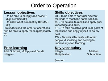 Order of Operations BIDMAS BODMAS