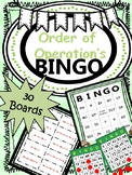 BINGO* Order of Operations {30 BOARDS} (NO PREP)