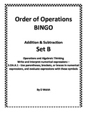 Order of Operations BINGO - Addition and Subtraction Set B