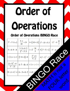 Order of Operations BINGO Race