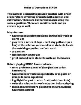 Order of Operations BINGO (Set D)