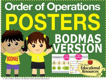 """Order of Operations - BODMAS - 2 MATH POSTERS - 24"""" x 36"""""""