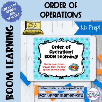 Distance Learning FLASH Freebie Order of Operations Boom Learning℠ Quiz