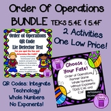 Order of Operations BUNDLE! Two Activities! QR CODES TEKS 5.4E & 5.4F