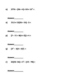 Order of Operations-Basic to Advanced