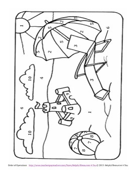 Order of Operations Beach Themed Coloring Sheet