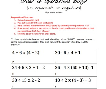 Order of Operations Bingo - no exponents or negatives WITH answer key