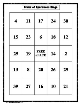 Order of Operations Bingo (30 pre-made cards!!!)