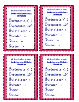 Order of Operations Bookmarks in Spanish