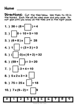 Order of Operations Unit and Bundle- No Exponents