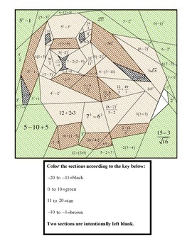 Order of Operations Bunny Coloring Puzzle