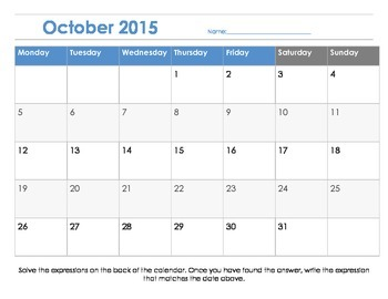 Order of Operations: Calendar Challenge (PEMDAS)