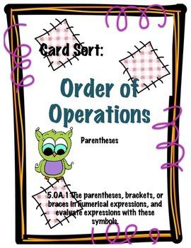 Order of Operations     Card Sort    5.OA.1