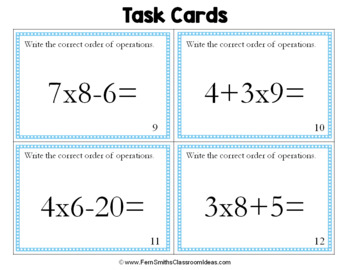 Order of Operations Cards - Listing the Order of Operations
