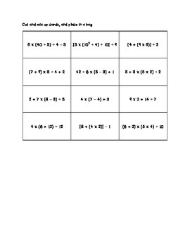 Order of Operations Center Activity