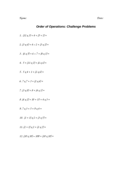 Order of Operations Challenge