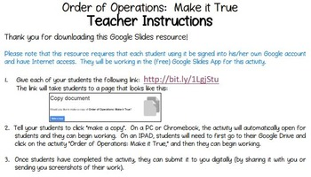 FREE Order of Operations Challenge Activity Using Google Slides