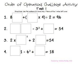 Order of Operations Challenge Task #1