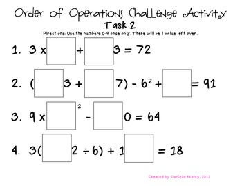 Order of Operations Challenge Task #2