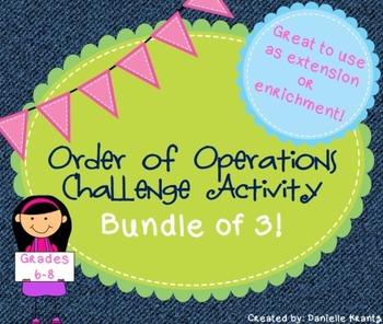 Order of Operations Challenge Task BUNDLE