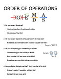 """Order of Operations """"Cheat Sheet!"""""""