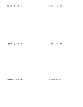 Order of Operations Check for Understanding
