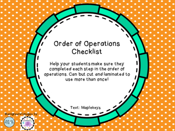 Order of Operations Checklist