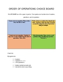 Order of Operations Choice Board