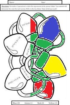 Order of Operations: Christmas Lights Coloring Sheet