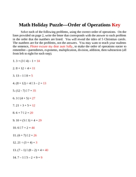 Order of Operations Christmas Puzzle