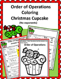 Order of Operations - Christmas/Winter Cupcake Solve and Color