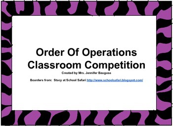Order of Operations Class Competition